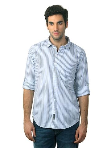Basics Men White Striped Shirt