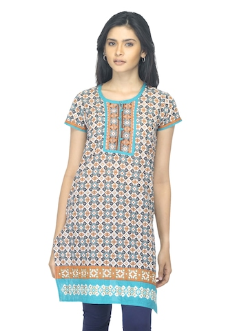 Folklore Women Printed Brown Kurta
