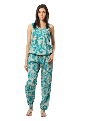 United Colors of Benetton Women Printed Teal Jumpsuit