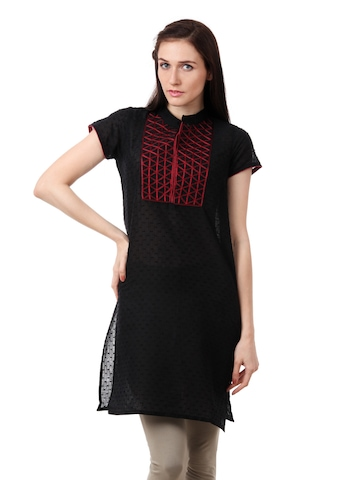 Folklore Women Black Kurta