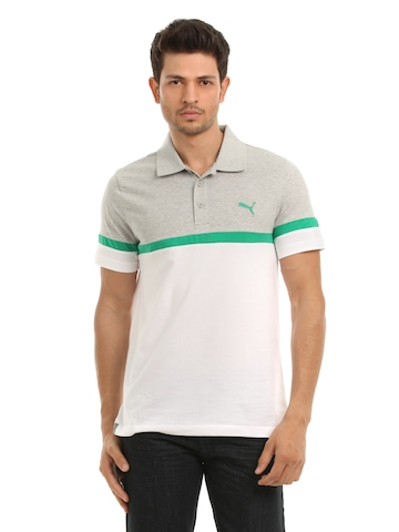 Puma Men Grey & White Polo T-shirt