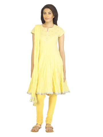 BIBA Women Yellow Salwar Suit