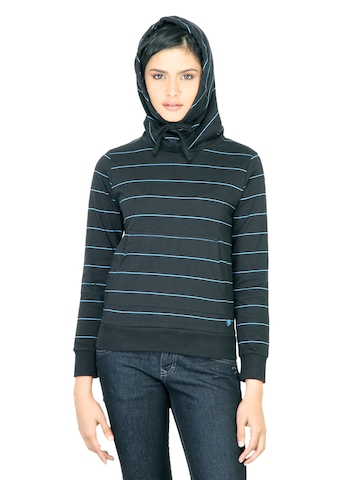 Wrangler Women Cowl Black Sweatshirt