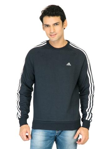 Adidas Men Solid Navy Blue Sweatshirts