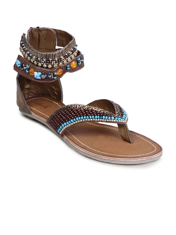 Catwalk Women Ethnic Leather Flat Brown Flats