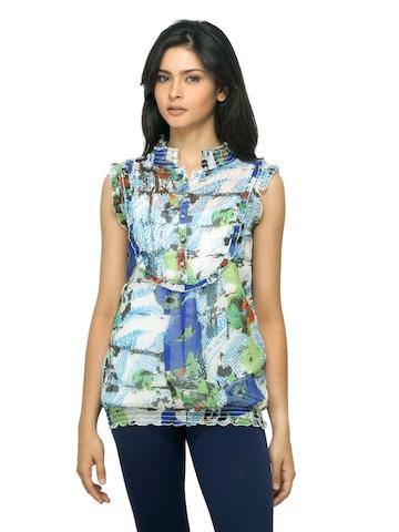 Sepia Women Printed Blue Top