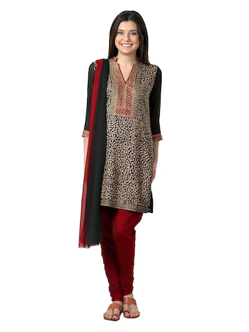 Aneri Women Black & Maroon Salwar Suit