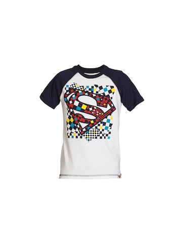 Superman Boys Off White & Navy Blue T-shirt