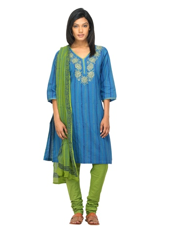 BIBA OUTLET Women Blue & Green Salwar Suit