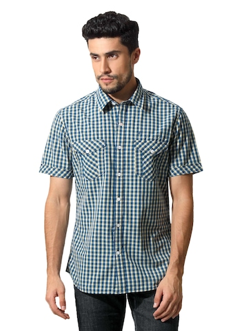 John Players Men Gingham Blue Shirt
