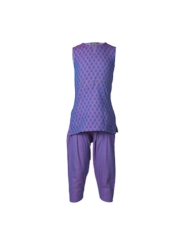 Fabindia Girls Printed Purple Salwar