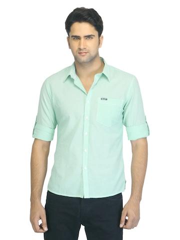 Wrangler Men Green Striped Shirt
