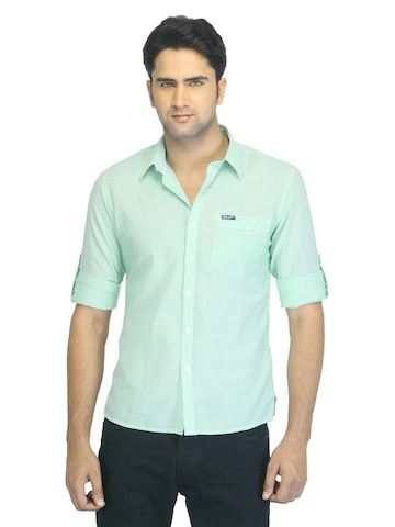 Wrangler Men Green Striped Shirt