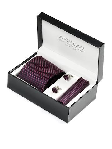Arrow Men Formal Purple Tie+Cufflink+Pocket square - Combo Pack