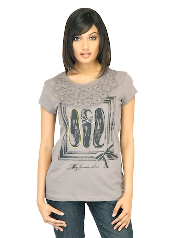 United Colors of Benetton Women Grey T-shirt