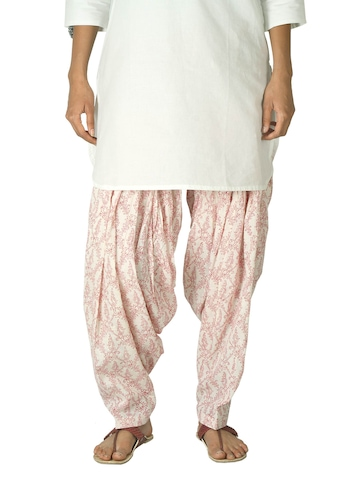 Fabindia Women Printed White & Red Patiala