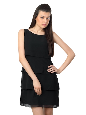 Femella Women Black Tiered Dress