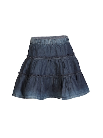 United Colors of Benetton Kids Girls Washed Blue Skirt