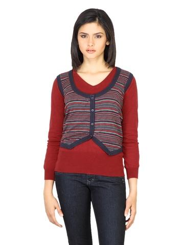 Wrangler Women Scoop Navy Blue Sleeveless Sweater