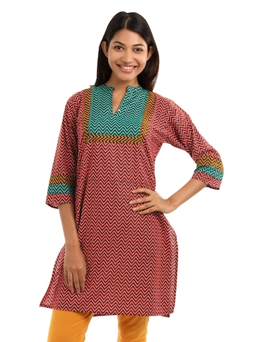 Shree Women Red Chevron Stripe Kurta