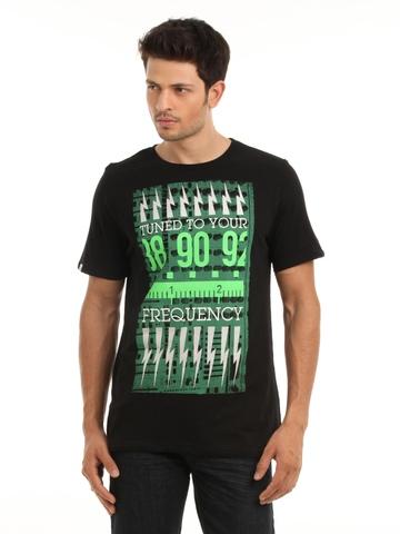 Puma Men Black & Green T-shirt