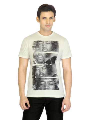 Music Men Off White Printed T-shirt