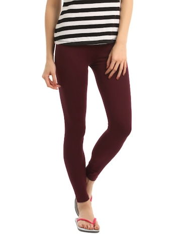 Hanes Women Maroon ComfortSoft Waistband Cotton Stretch Full Leggings