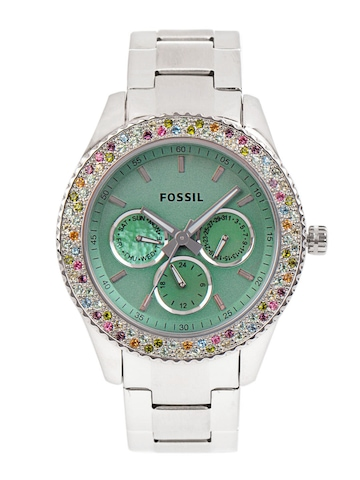 Fossil Women Green Dial Chronograph Watch ES3051