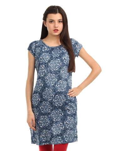 W Women Navy Blue Kurta