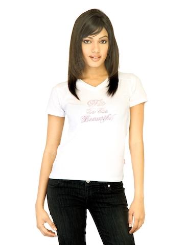 Hanes Women Short Sleeve White Innerwear T-shirt