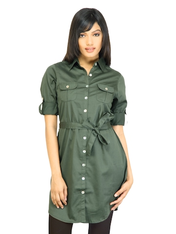 Arrow Woman Solid Green Dress
