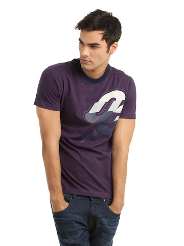 Adidas Men Purple Printed T-shirt