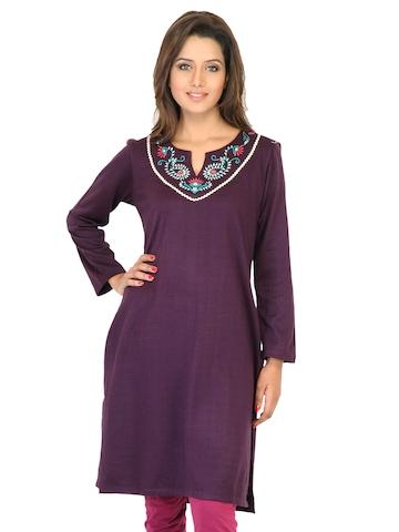 Aurelia Women Solid Purple Kurtas