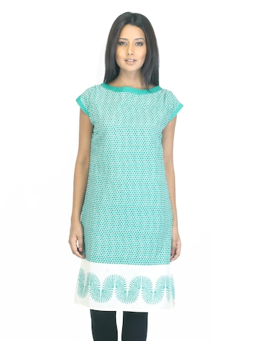 W Women Printed Green Kurta
