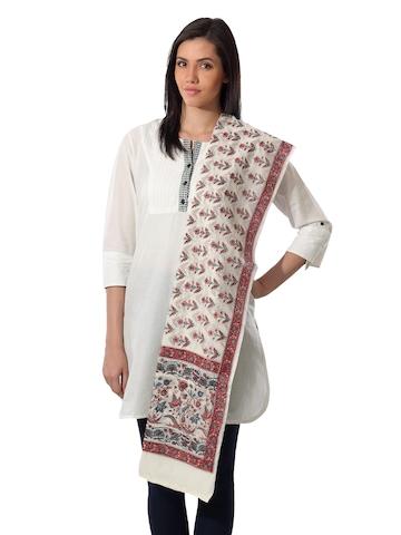 Fabindia Printed Cream Cotton Silk Dupatta
