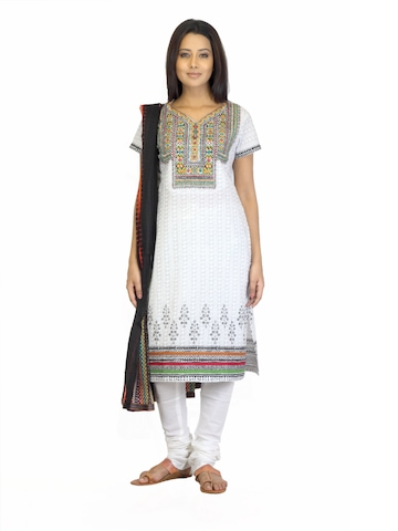 BIBA Women Printed White Salwar Suit