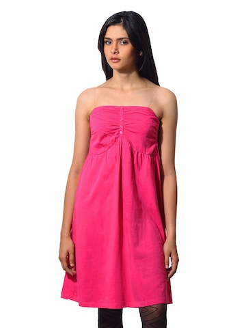Flying Machine Women Cotton Pink Dress