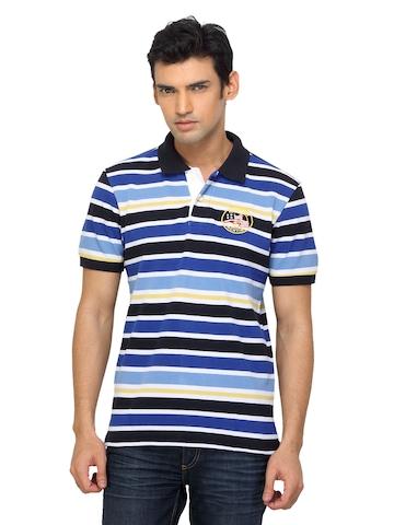 Arrow Sport Men Striped Blue Polo T-shirt