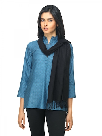 Fabindia Women Black Noil Silk & Wool Stole