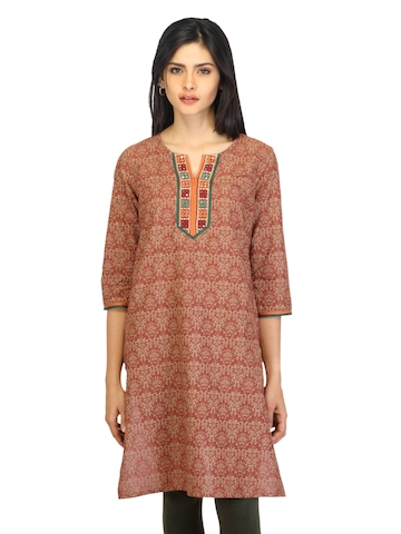Aurelia Women Printed Brown Kurta