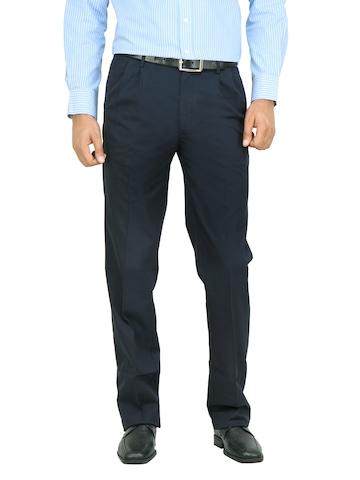Arrow Men Navy Blue Solid Trousers