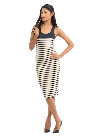 French Connection Women Navy Blue Striped Dress