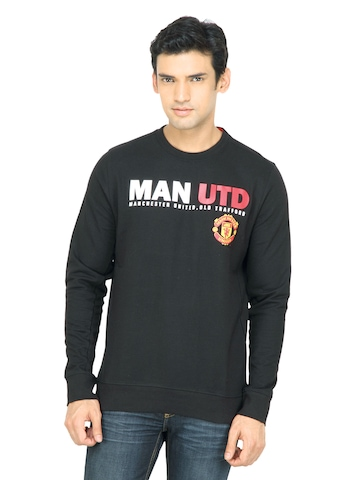 Manchester United Men Printed Black Sweatshirt