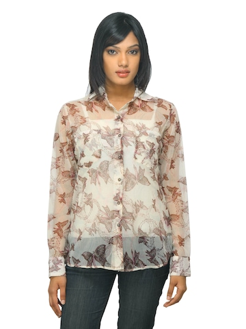 Femella Women Printed Beige Shirt