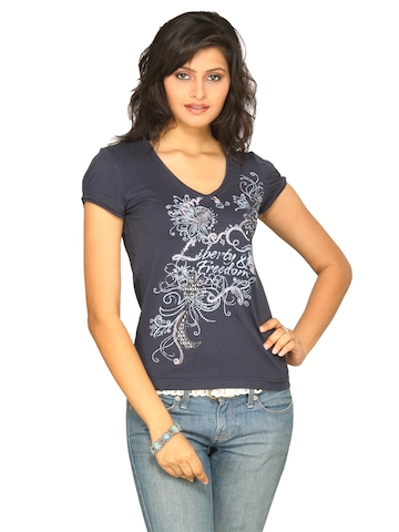 s.Oliver Women's Printed Top Blue T-shirt