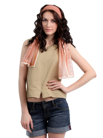 Fabindia Women Cream Printed Stole