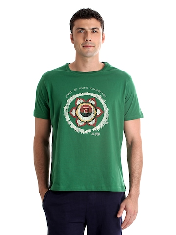 Urban Yoga Men Printed Green T-shirt