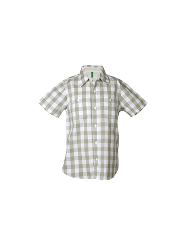 United Colors of Benetton Boys Check Olive Shirt