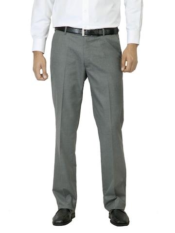 Arrow Men Grey Flat Front Trousers