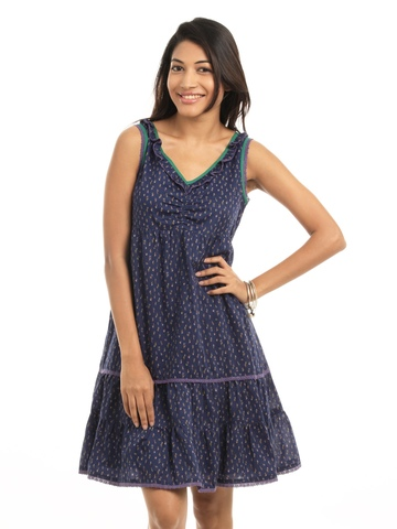Mineral Navy Blue Printed Dress